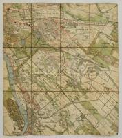 cca 1880 Soroksár és Pesterzsébet színes térképe. Vászonra kasírozva 50x55 cm