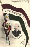 Kossuth Ferenc, politikus; A Haza Minden Előtt!. hazafias zászlós lap / Hungarian politician, flag (EK)