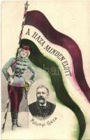 Polónyi Géza, politikus; A Haza Minden Előtt!. hazafias zászlós lap / Hungarian politician, flag (EK)