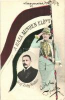 Gróf Zichy Aladár, politikus; A Haza Minden Előtt!. hazafias zászlós lap / Hungarian politician, flag