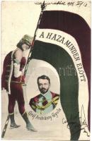 Gróf Andrássy Gyula, politikus; A Haza Minden Előtt!. hazafias zászlós lap / Hungarian politician, flag