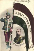 Gróf Apponyi Albert, politikus; A Haza Minden Előtt!. hazafias zászlós lap / Hungarian politician, flag