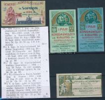1904 Sopron Ipar és képzőművészeti kiállítás 4 db klf levélzáró