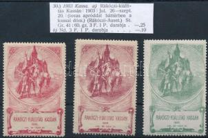 1903 Rákóczi kiállítás Kassán 3 klf színű levélzáró