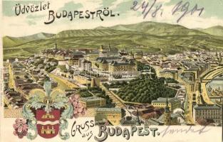 Budapest I. Tabán, címeres litho lap. Ottmar Zieher (vágott / cut)