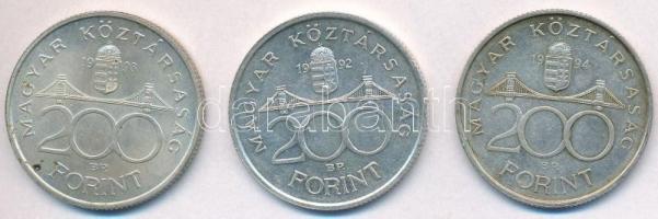 1992-1994. 200Ft Ag (3xklf) MNB/Deák T:2