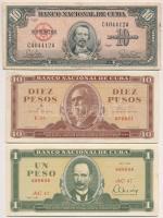 Kuba 1960. 10P + 1961. 10P + 1981. 1P T:II-III Cuba 1960. 10 Peso + 1961. 10 Peso + 1981. 1 Peso C:XF,F