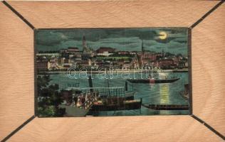 Budapest, litho látképes lap falemezen / wooden card litho