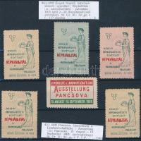 1905 Szegedi Képzőművészeti Egyesület Képkiállítás 5 db levélzáró + Pancsova kiállítás R!