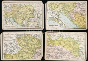 cca 1910 Weltkarte 13 db térképes kártya, hátoldalán statisztikai adatokkal