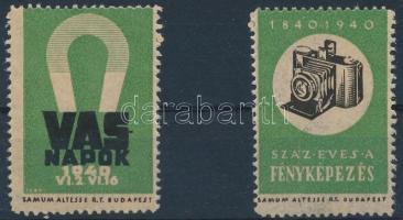 1940 Vas napok és Száz éves a fényképezés 1-1 db levélzáró