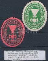 1903 Vadászati kiállítás 2 db klf színű pecsétbélyeg