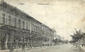 Lugos, Lugoj; Templom utca, Nemes Kálmán kiadása / street (kis szakadás / small tear)
