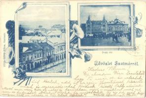 Szatmárnémeti, Satu Mare; Deák tér. Lövi Miksa kiadása / square, floral Art Nouveau