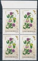 1991 Virág 7Ft ívszéli négyestömb matt gumival (28.000) (az egyik bélyeg hátulján barna folt)