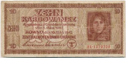 Ukrajna / Német megszállás 1942. 10K T:III  Ukraine / German occupation 1942. 10 Karbowanez C:F Krause 52