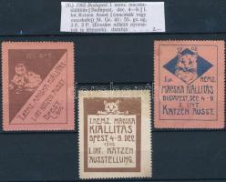 1902 I. Nemzetközi macska kiállítás 3 db klf levélzáró