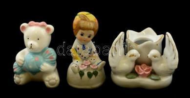 Kis porcelán figurák(Kislány virágokkal, kis maci, galambos gyertyatartó), kézzel festettek, hibátlanok, jelzés nélkül, m: 6 és 8 cm