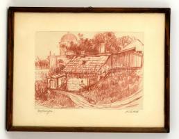 Olvashatatlan jelzéssel: Esztergom. Litográfia, papír, üvegezett keretben, 18×28 cm