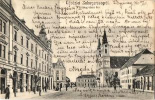 Zalaegerszeg, Vármegyeház tér, Gyarmati Vilmos üzlete. Kiadja Fenyvesi Miksa