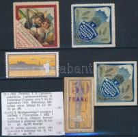 1902 II. Mezőgazdasági kiállítás Pozsony 5 db klf levélzáró RR!