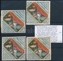 1900 Nemzetközi Képes- és Levelezőlap kiállítás 4 db levélzáró