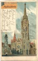 1899 Budapest I. Mátyás templom, Back & Schmitt litho s: Rosenberger (vágott / cut)