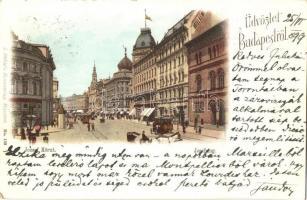 1899 Budapest VIII. József körút, Hotel Rémi, Magyar királyi Technológiai és Ipar múzeum, villamos. L. Schlafs Kunstverlag litho