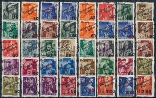 1945 Ungvár (II.) komplett sor + 1 számolóalap illeték bélyeg, 3 stecklapon garancia nélkül / no guarantee