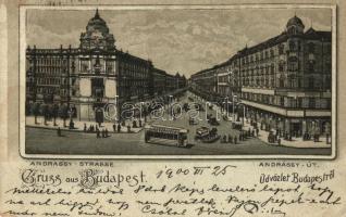 Budapest VI. Andrássy út, villamos, litho (fa)