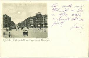 1898 Budapest VI. Andrássy út, villamosok, Rigler litho