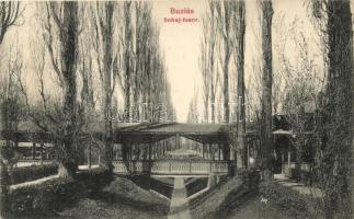 Buziás, Sóhaj fasor híddal, Francz Testvérek kiadása / promenade
