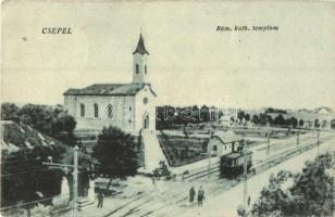 Budapest XXI. Csepel, Római katolikus templom, villamos