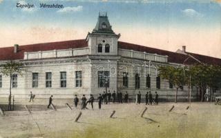 Topolya, Backa Topola; Városháza, kiadja Hajtmann István / town hall (kopott sarkak / worn corners)
