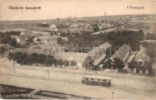 Budapest XXI. Csepel, Lőszergyár villamossal