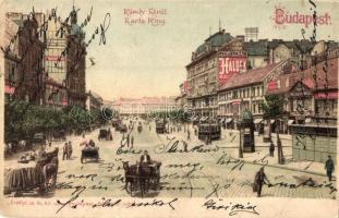 Budapest V. Károly körút, Haldek üzlete, villamosok, litho