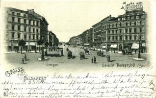 Budapest VI. Oktogon, villamos, Budapest Napilap irodája, litho (EK)
