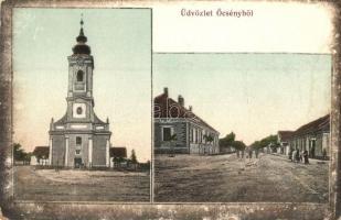 Őcsény, templom és utcakép. Kovács Benő kiadása