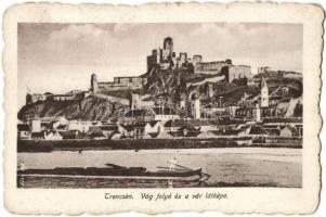 Trencsén, Trencin; Vág folyó és a vár látképe, Andor dohánytőzsde kiadása / river, castle