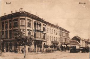 Arad, Fő utca, biztosító, sörcsarnok és étterem, villamos / main street, beer hall, restaurant, insurance company, tram