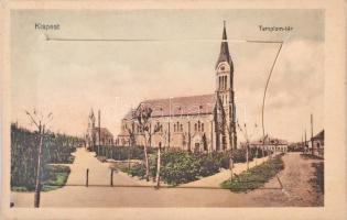 Budapest XIX. Kispest, Templom tér, leporellolap belül Hoffher-Schrantz Clayton-Shuttleworth gépgyárával és textilgyárral