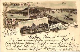 1898 Budapest, Margitfürdő, Gellérthegy, Buda, floral, litho. Ottmar Zieher (EK)