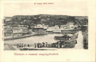 Vízaknasósgyógyfürdő, Ocna Sibiului; Nagy zöld sóstó / lake