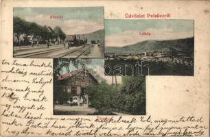 Pelsőc, Pelsücz, Plesivec; Vasútállomás vonattal, étterem. Kiadja Pártos Mór / railway station with train, restaurant (EK)