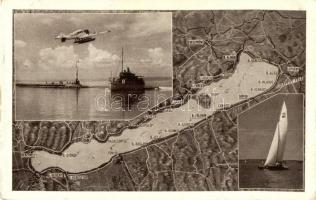 Balaton, térkép, hidroplán, vitorlás, gőzhajó, Leica felvétel, Fotó Nagy kiadása (ragasztónyom / glue mark)