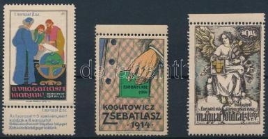 1911-1914 3 db Földrajzzal kapcsolatos klf levélzáró