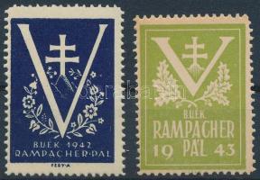 1942-1943 2 db klf Rampacher Pál levélzáró