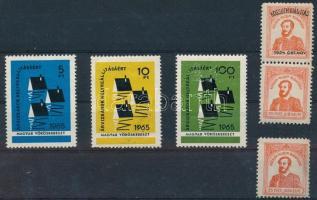 1924-1965 Kossuth kiállítás 3 db levélzáró + Magyar Vöröskereszt 3 klf színű és névértékű adománybélyeg