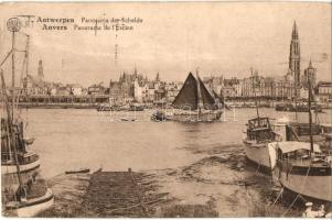 Antwerpen, Anvers; Schelde / Escaut / port with ships