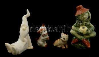 5 db vegyes porcelán, műanyag, stb. figura(kiscica, kiskutya, manó, elefánt), némelyiken apró sérülésekkel, m: 3,5 és 10 cm között